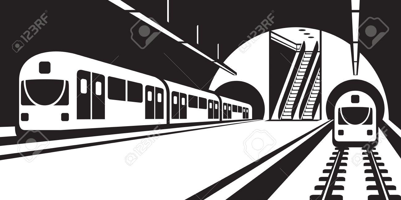 イラストの列車と地下鉄の駅のプラットフォーム ロイヤリティフリー
