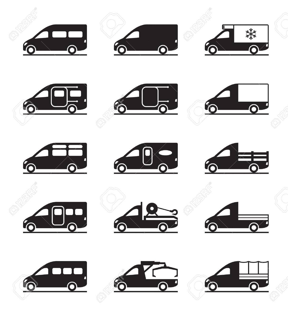 Types Of Vans >> Various Types Of Vans And Pickups Vector Illustration
