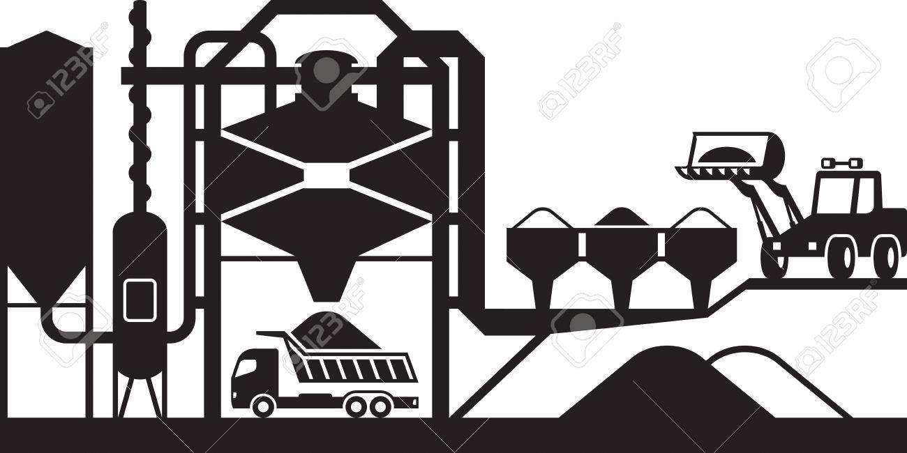 Asphalt mixing plant - vector illustration - 69327242
