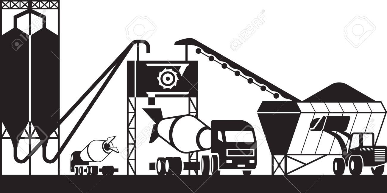 Concrete batching plant - vector illustration - 131588367