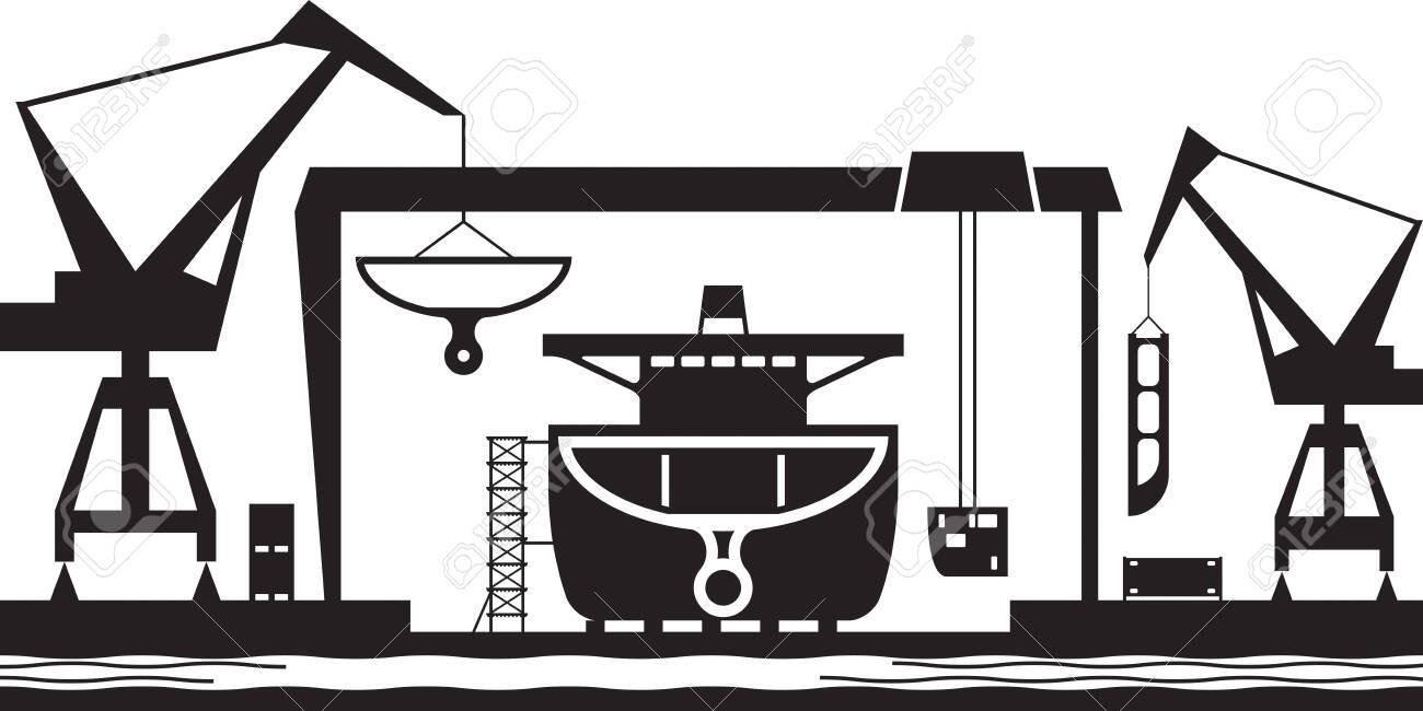 Shipbuilding industry background - vector illustration - 142735805
