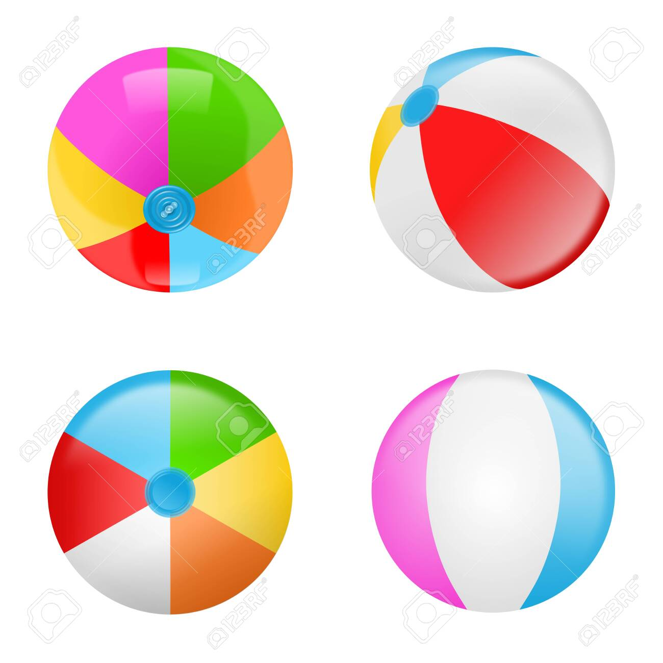 Set of colorful beach balls. Collection of inflatable rubber balls - 145178943