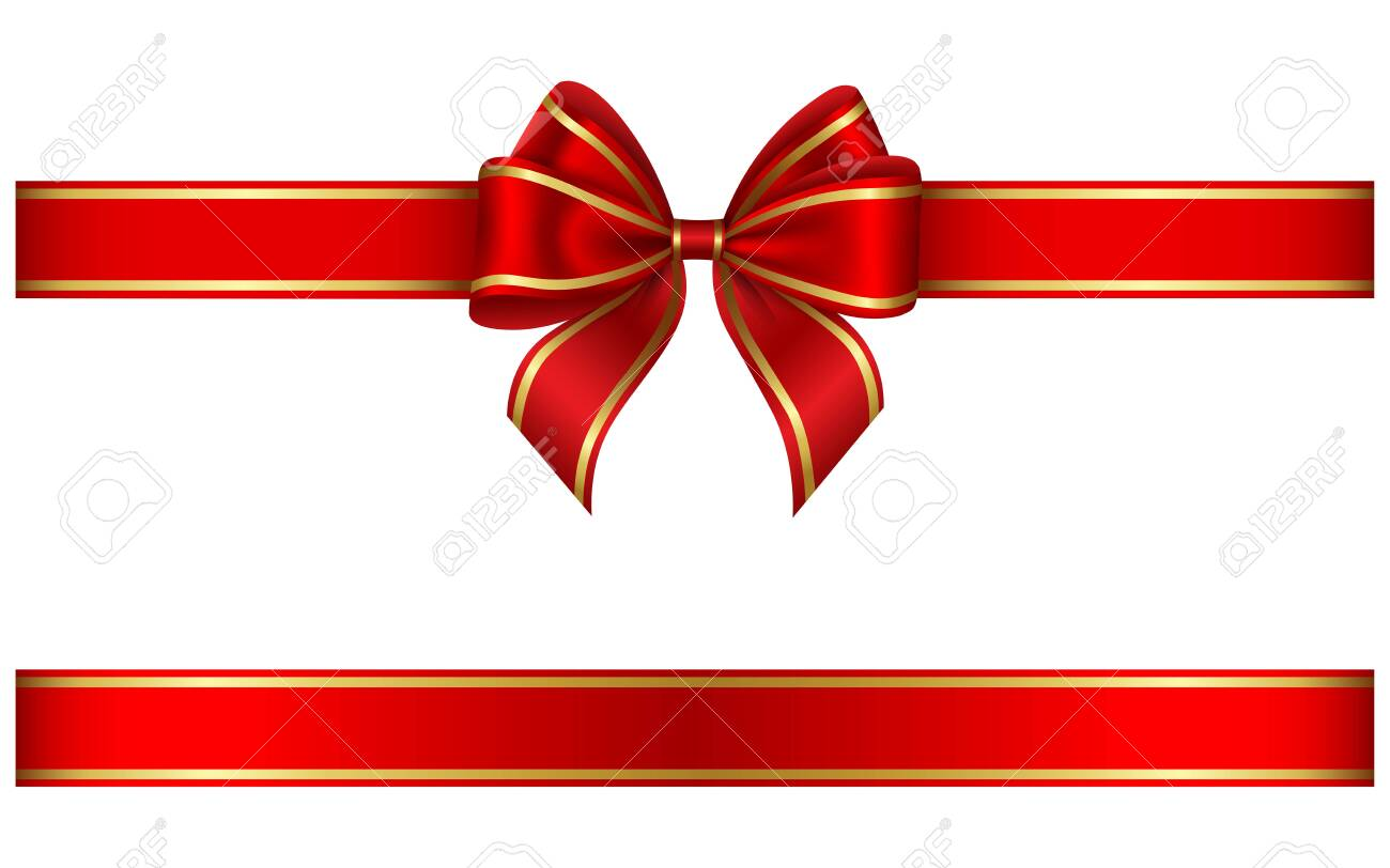 red ribbon and bow with gold edging - 156717978