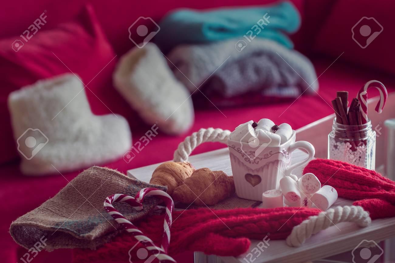 Warm Und Gemütlich Winter Stilleben, Bestehen Aus, Tasse Kaffee ...