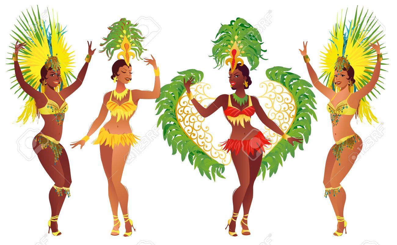 Set of Brazilian samba dancers. Vector carnival girls wearing a festival costume is dancing. - 69222208