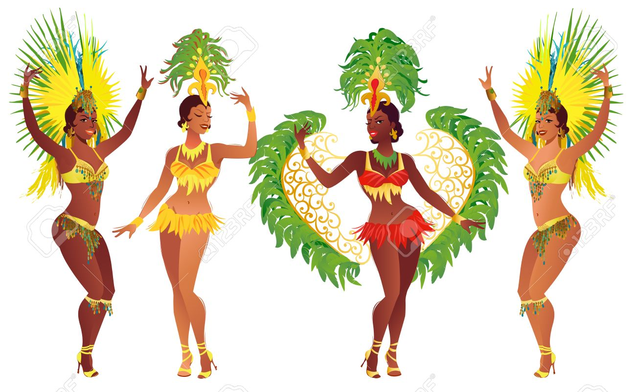 Set Of Brazilian Samba Dancers Vector Carnival Girls Wearing A Festival Costume Is Dancing