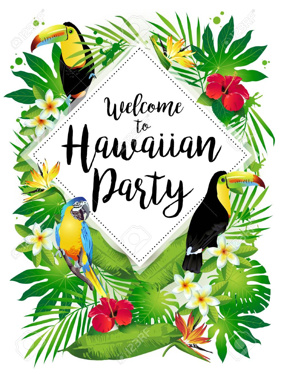 Welcome to Hawaiian party! Vector illustration of tropical birds, flowers, leaves. - 69222411