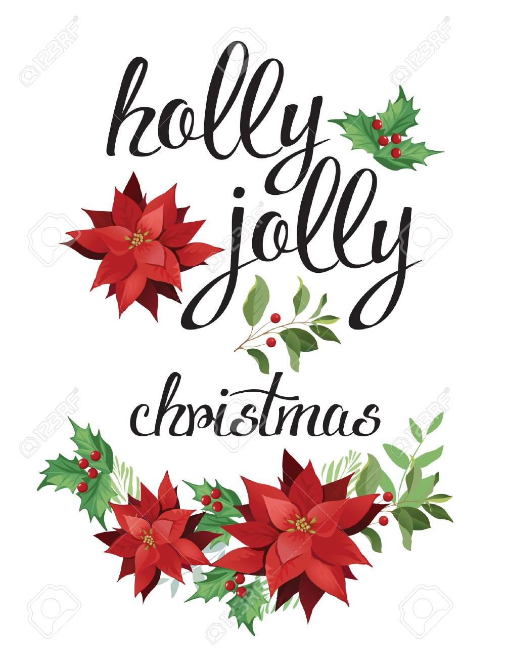 Holly, jolly. Wreath of red poinsettia and leaves. Watercolor illustration. - 69150044