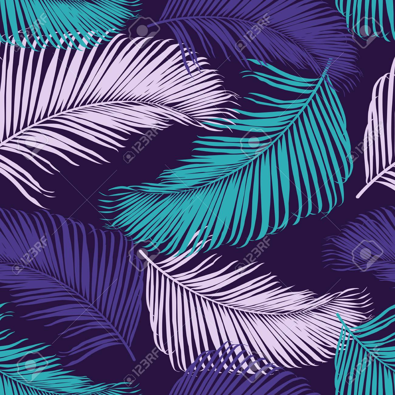 Fashion tropical seamless pattern. Colorful palm leaves. Modern trendy endless background. Vector. - 70035931