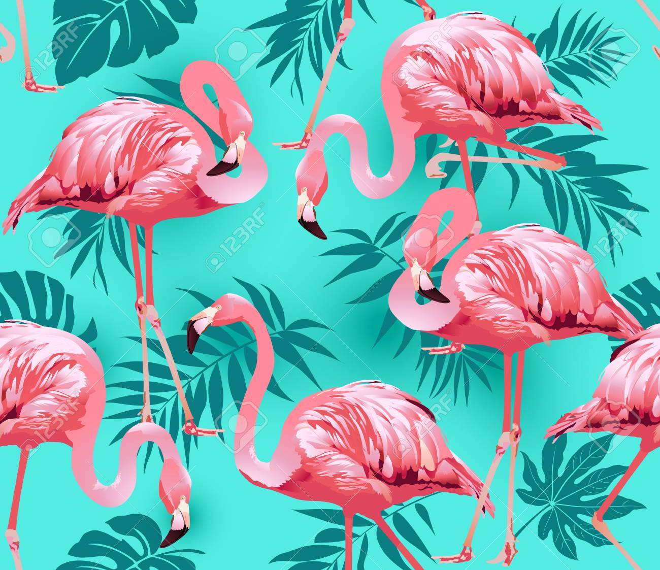 Flamingo Bird and Tropical Flowers Background - Seamless pattern vector - 73544221