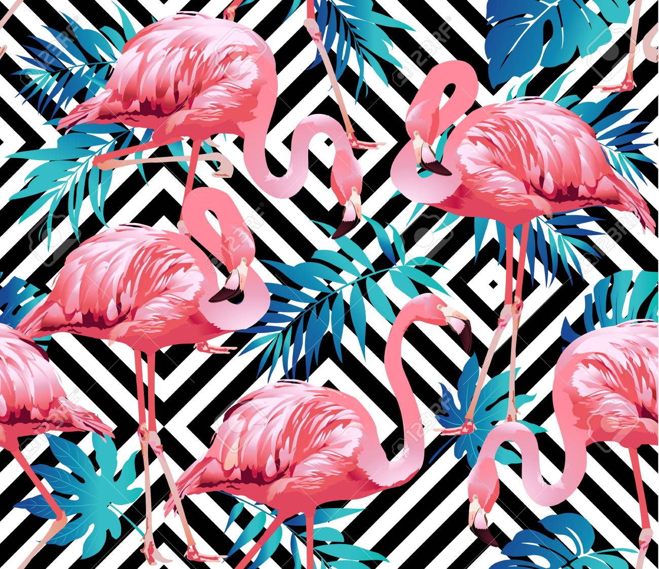 Flamingo Bird and Tropical Flowers Background - Seamless pattern vector - 74413701