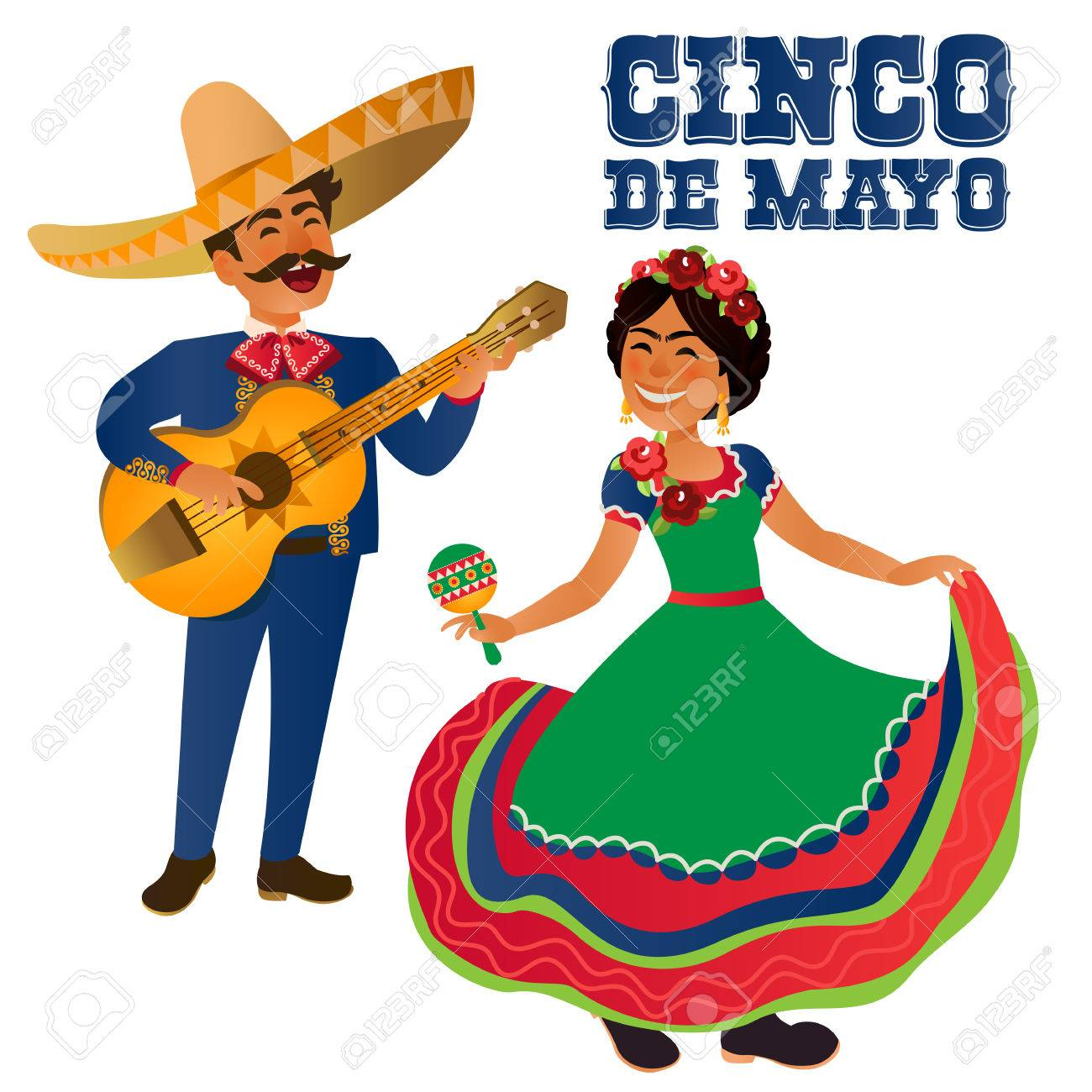 Mexico Dancer and guitar player at the Cinco De Mayo festival. Mexican and Latin music folk celebration. Vector Illustration. - 76568968
