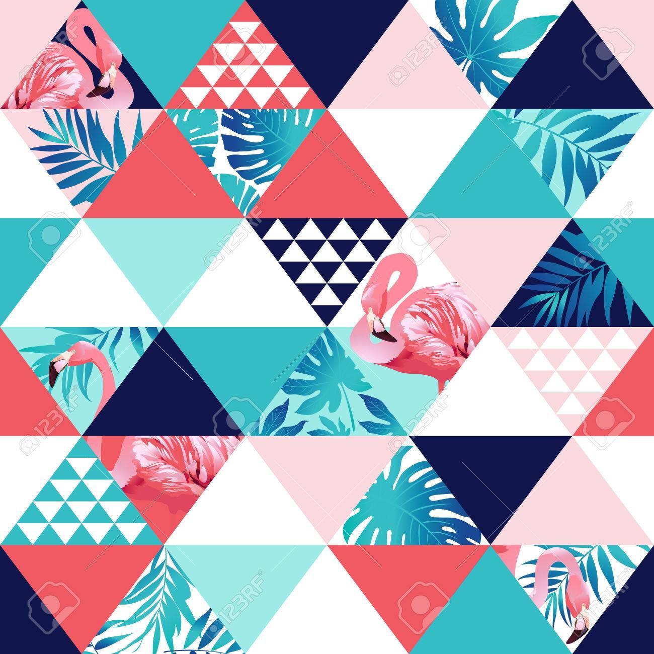 Exotic beach trendy seamless pattern, patchwork. Jungle pink flamingos Wallpaper print background mosaic - 81069019