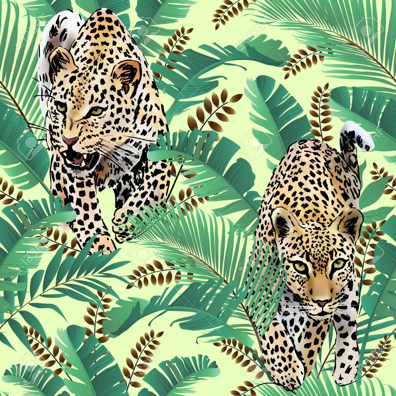 Cheetah and leopards palm leaves tropical watercolor in the jungle seamless background - 81582486