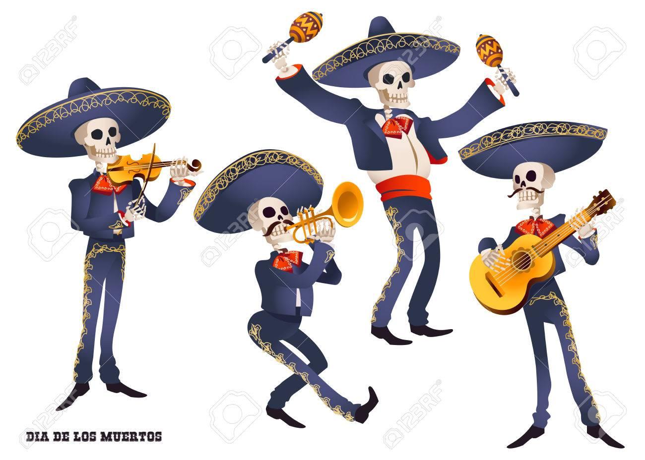 Dia de Muertos. Mariachi band musician of skeletons. Mexican tradition. Vector illustration. - 85357051