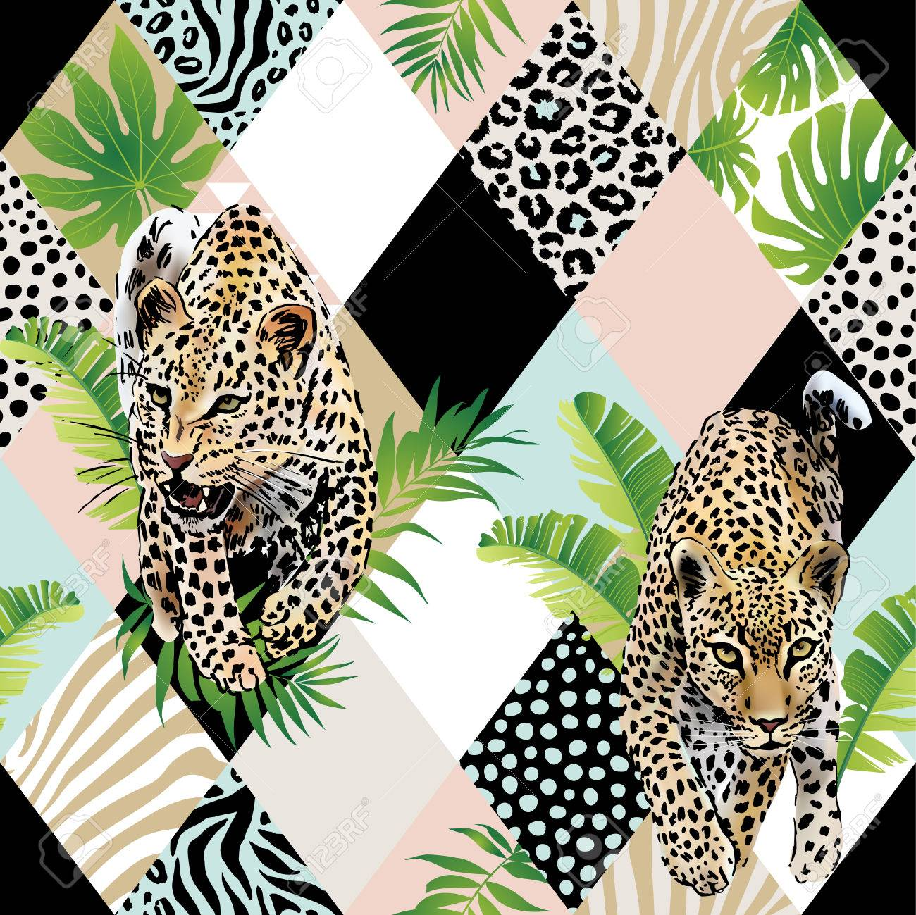 Tropical palm leaves and exotic leopard background. - 86083331
