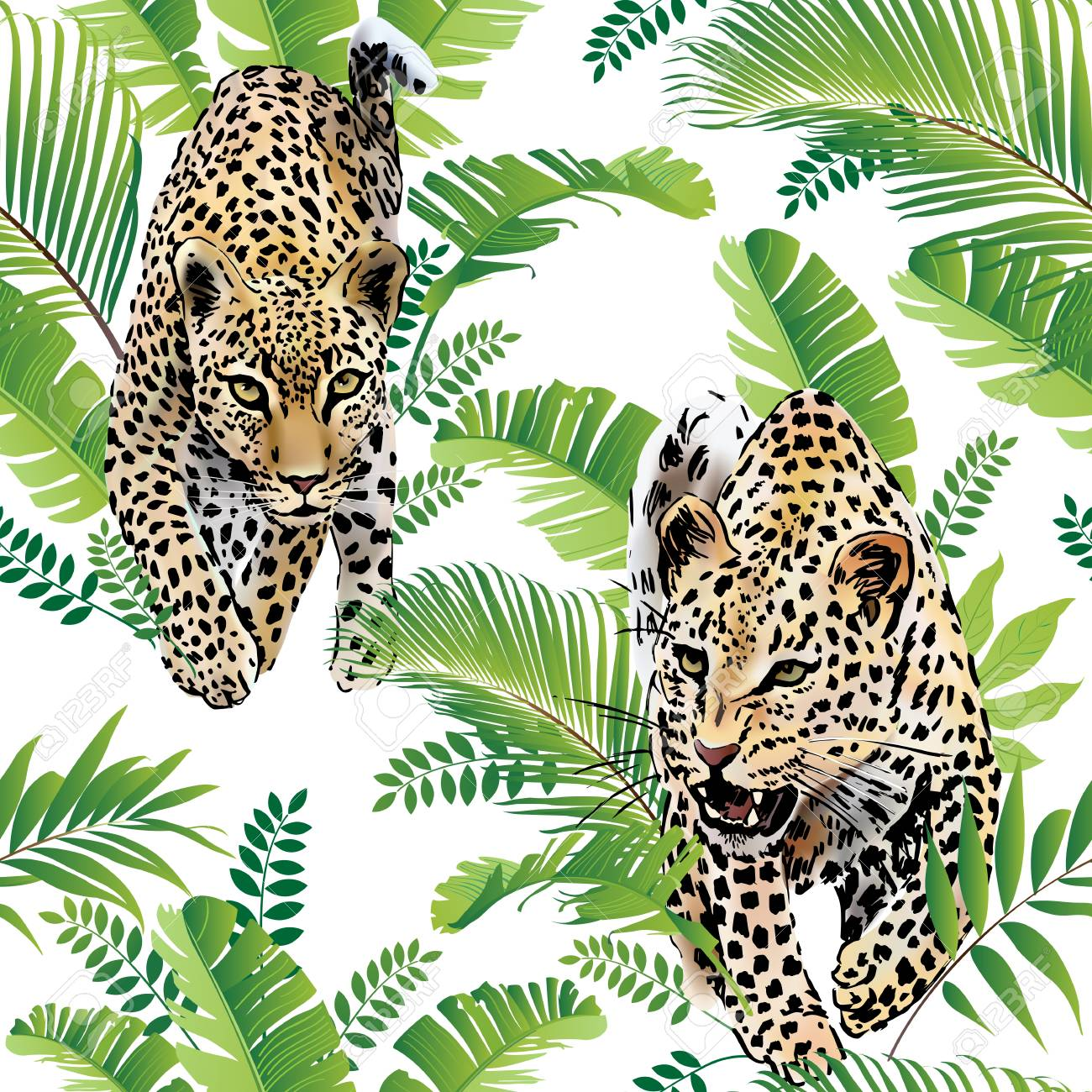 Leopards palm leaves tropical watercolor in the jungle. - 86083333