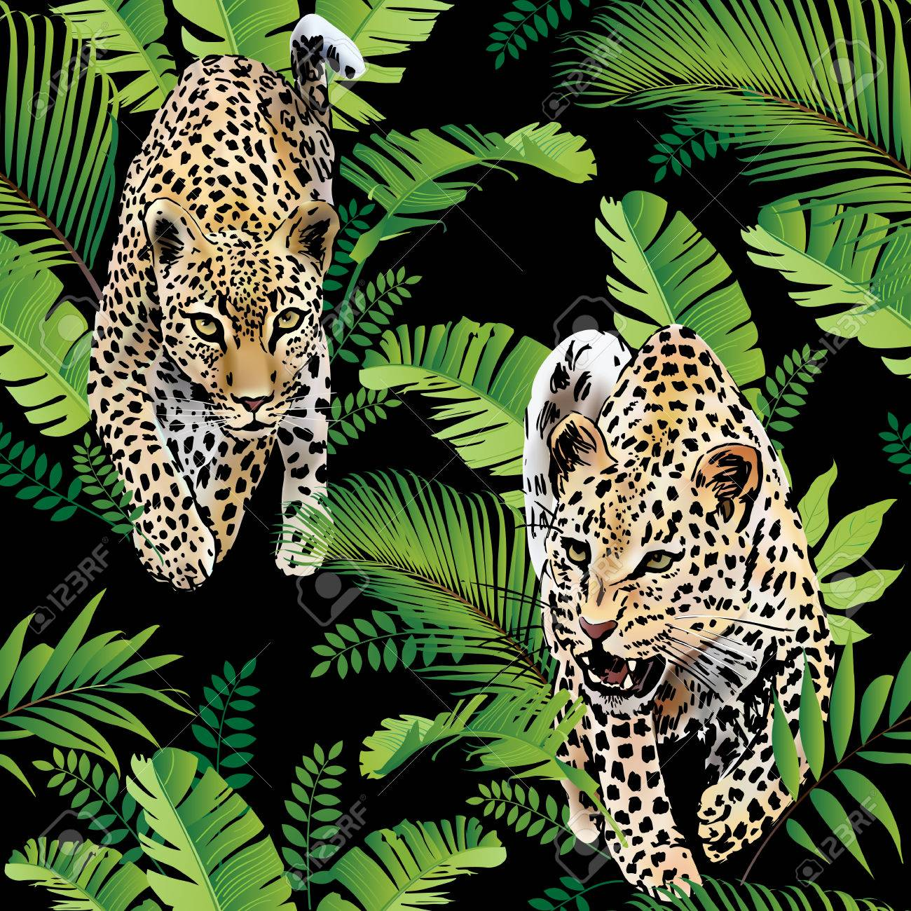 Leopards palm leaves tropical watercolor in the jungle. - 86146573