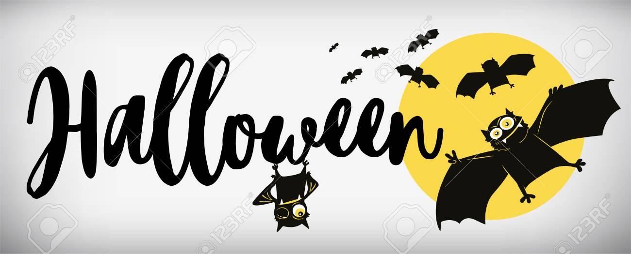 Komische Schlägervektorillustration Der Glücklichen Halloween-Fahne ...