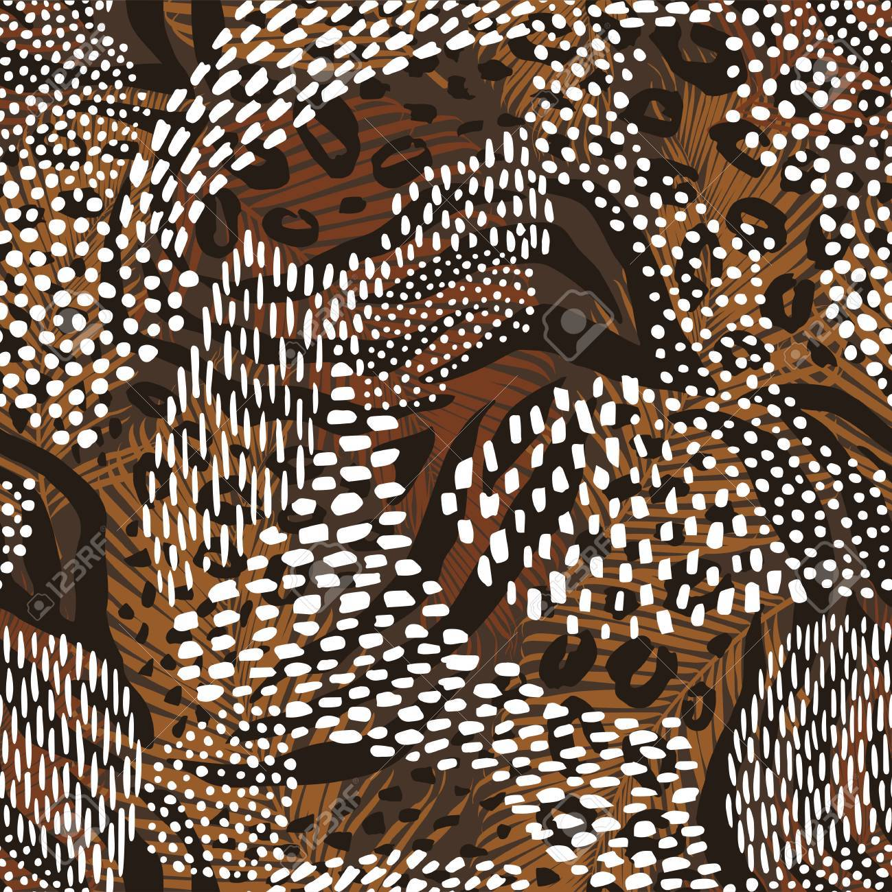 Abstract geometric seamless pattern with animal print. - 88070306
