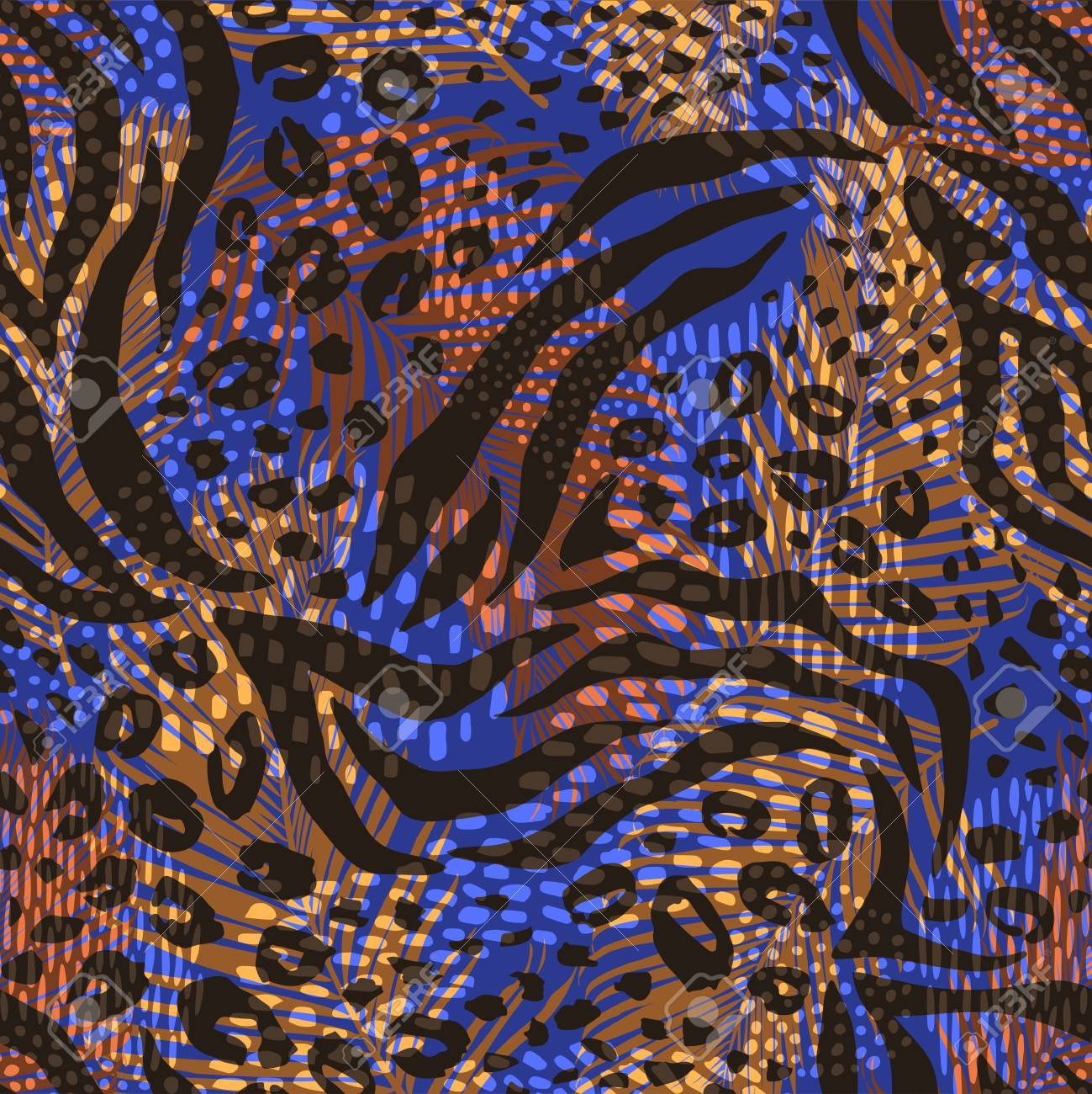 Abstract geometric pattern with animal print - 88081991