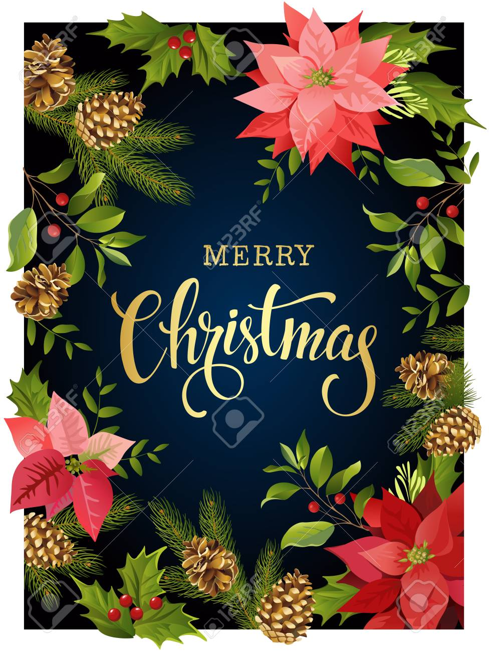 Christmas design composition frame of red poinsettia and leaves. Vector illustration. - 88100359