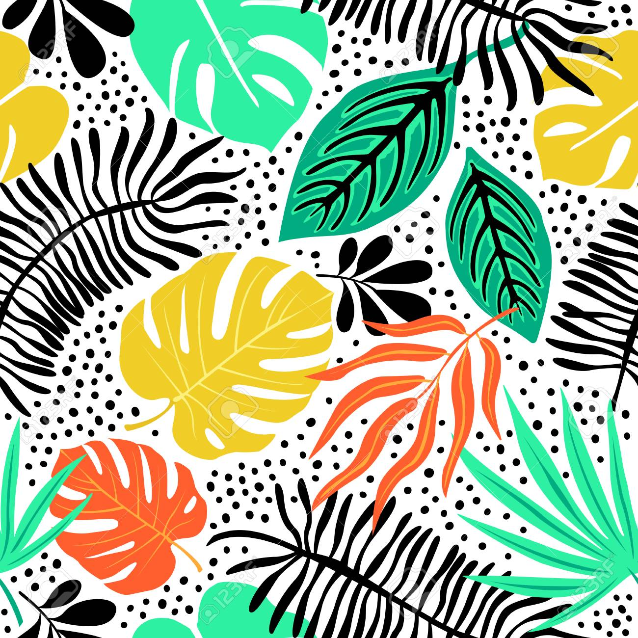 Exotic pattern with tropical plants - 88557271