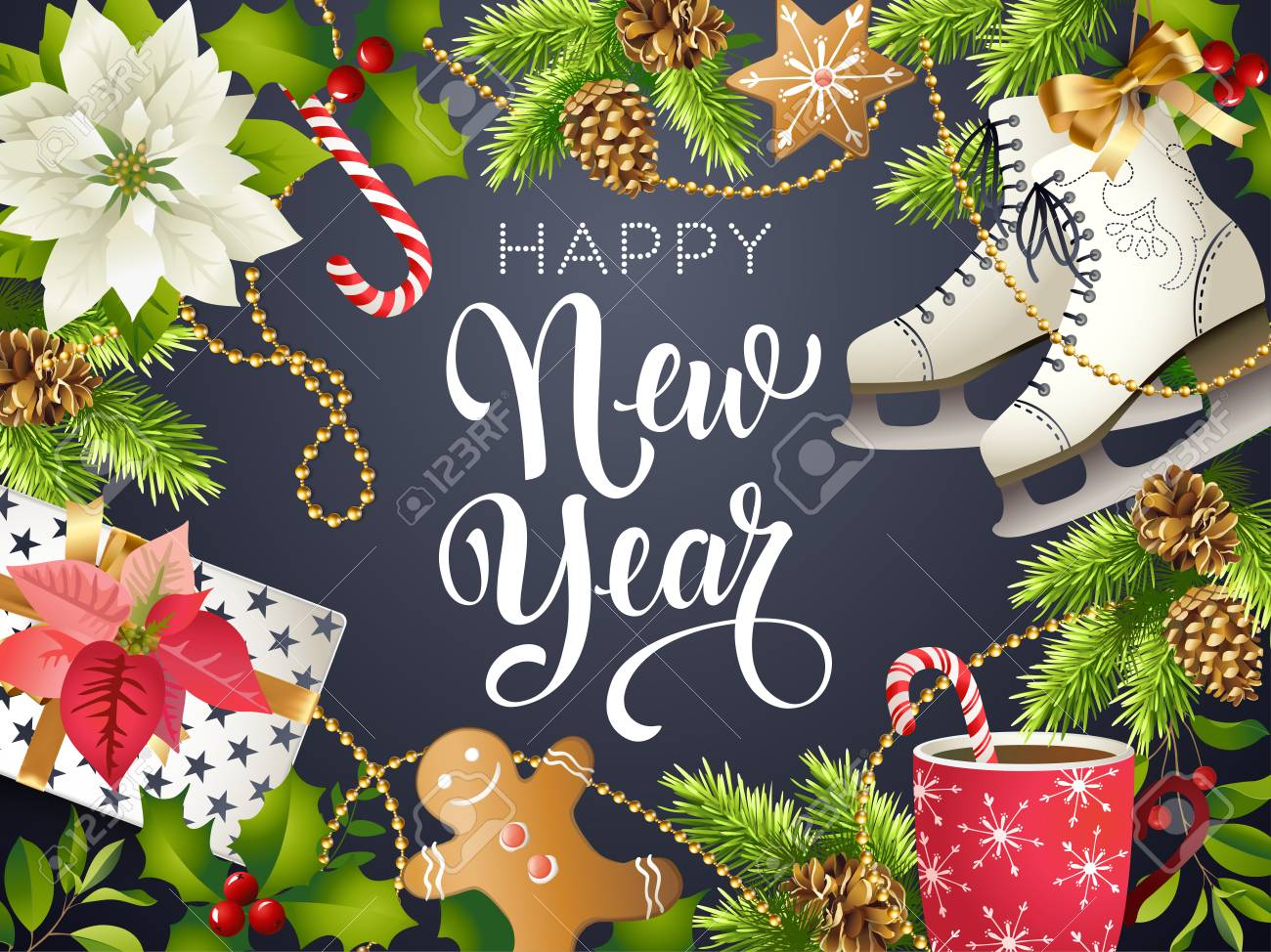 happy new year theme vector illustration of xmas party 2018 gold and black colors place