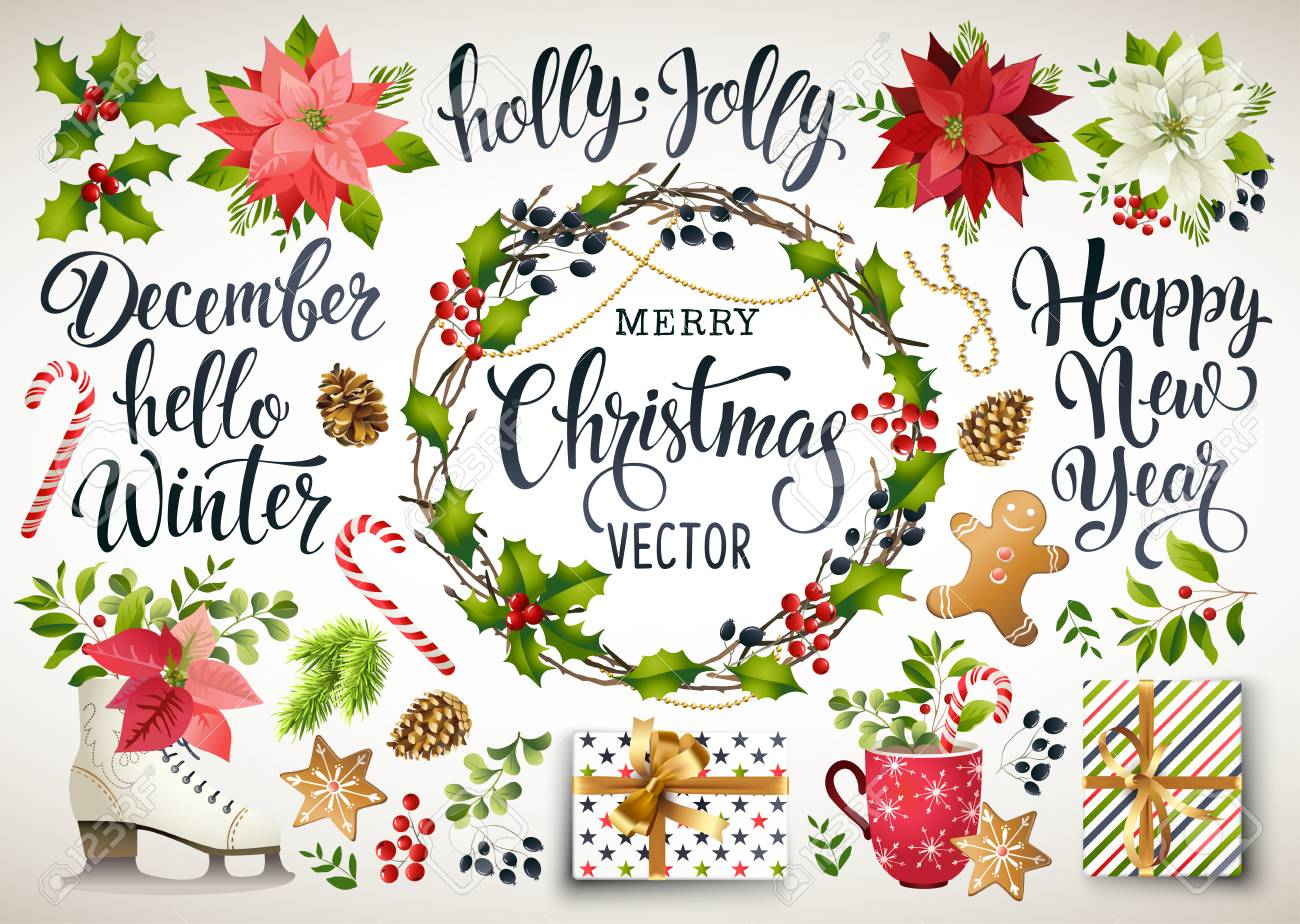 Christmas set design composition of poinsettia, fir branches, cones, holly and other plants. Cover, invitation, banner, greeting card. Vector illustration. - 89830610