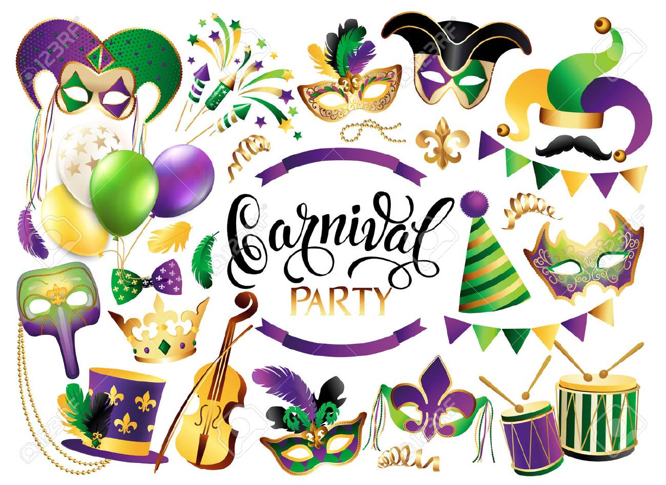 Mardi Gras French traditional symbols collection - carnival masks, party decorations. Vector illustration isolated on white background. - 90326128