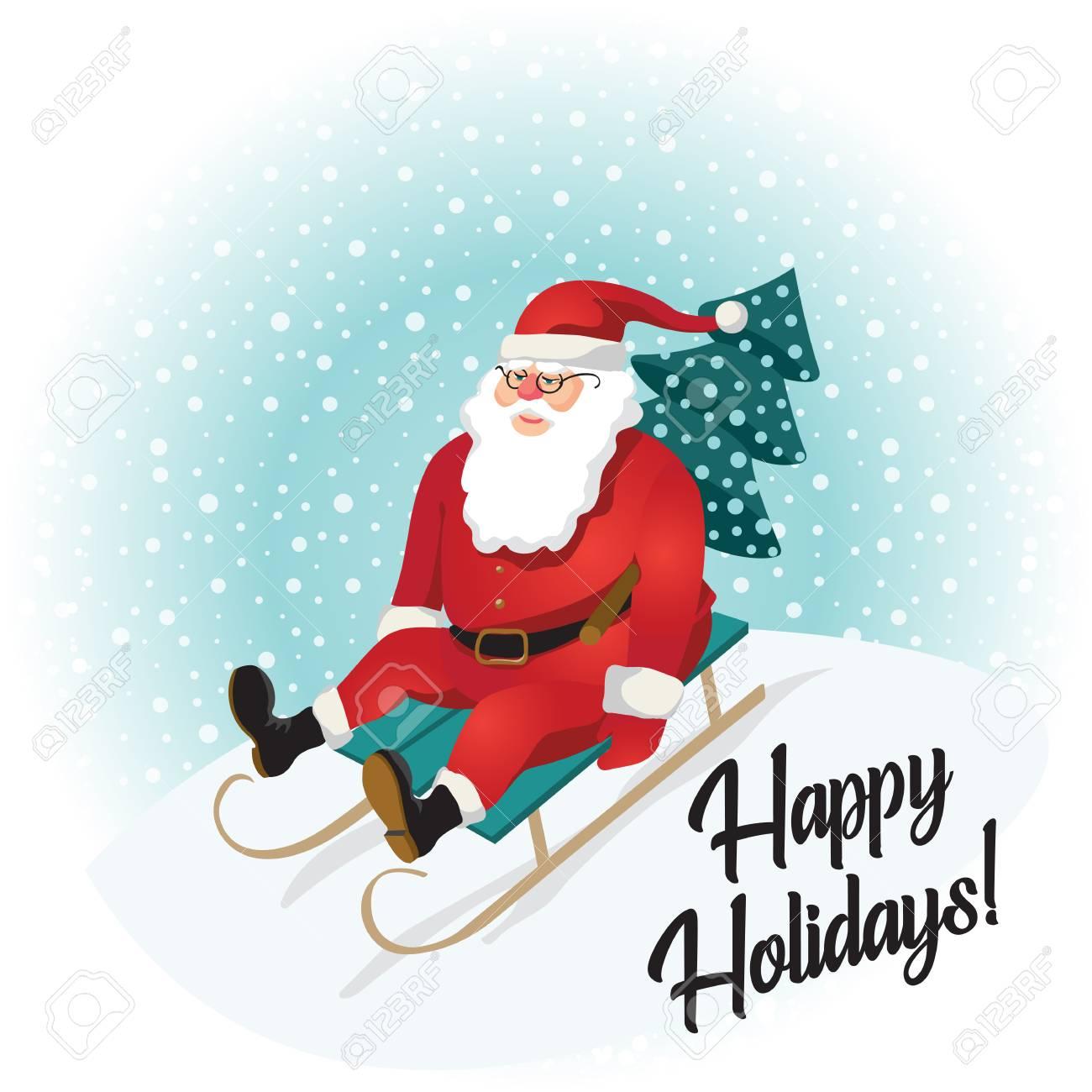 Babbo Natale Immagini Divertenti.Vettoriale Babbo Natale Divertente Che Sledding Con Le Montagne