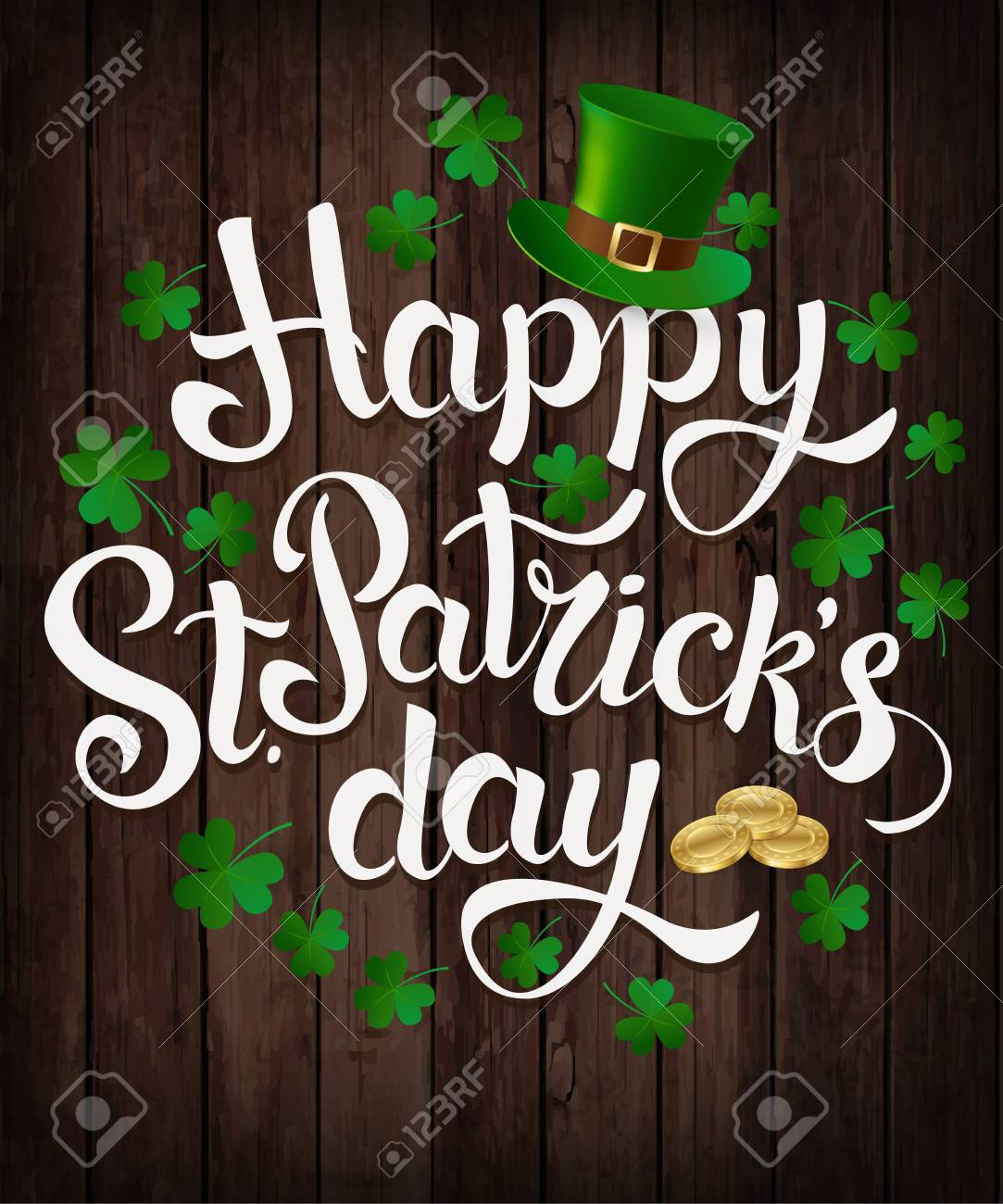 Happy St. Patrick s Day lettering Vector illustration. - 90821729