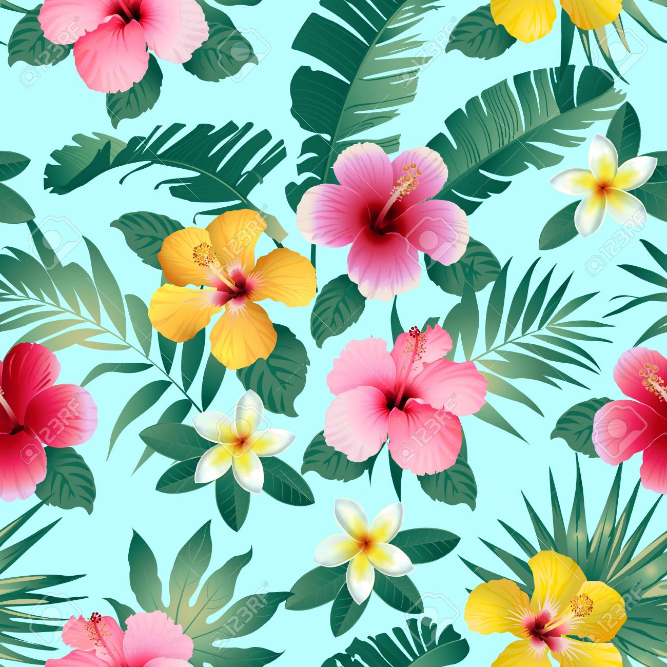 Fiori Hawaii.Tropical Flowers And Leaves On Dark Gray Background Seamless