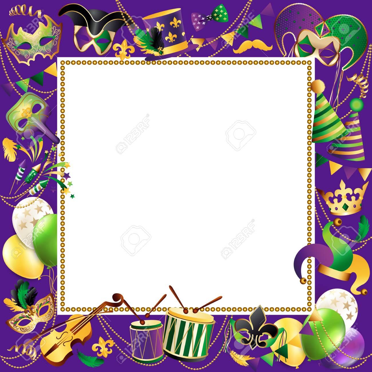 Frame template with golden carnival mask border design. - 91228624