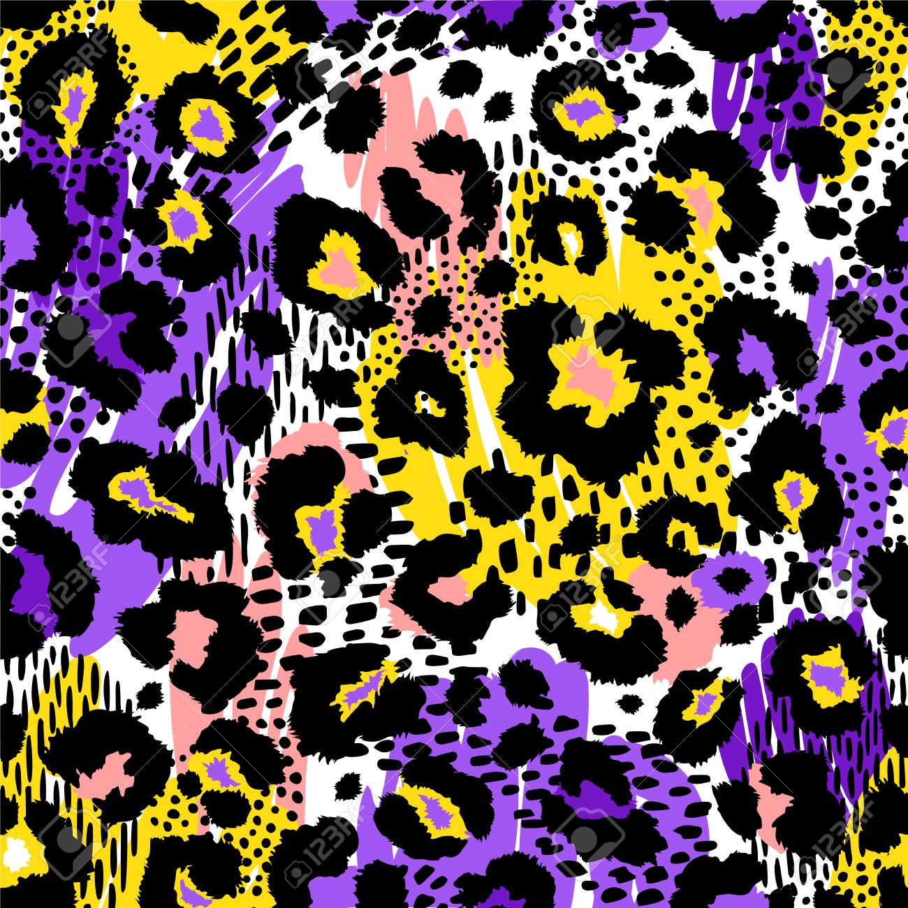 Abstract geometric seamless pattern with animal print. Trendy hand drawn textures. - 93625043