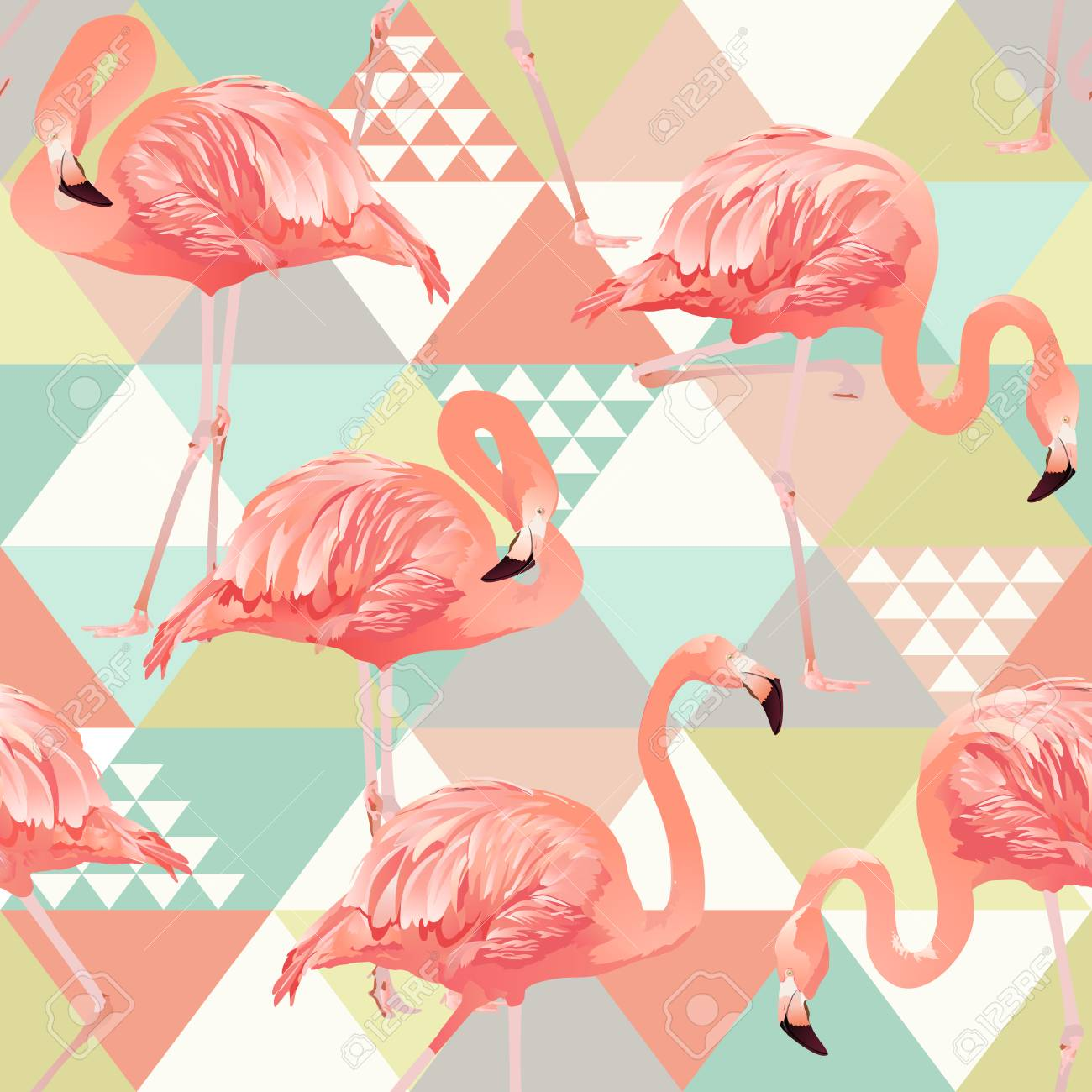 Jungle pink flamingos. Wallpaper print background mosaic. Exotic beach trendy seamless pattern, patchwork illustrated floral vector tropical banana leaves. - 94221516