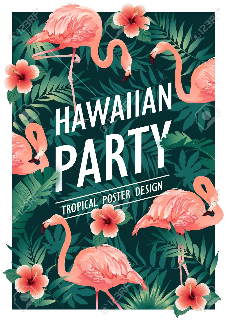 Hawaiian party. Vector illustration of tropical birds, flowers, leaves - 94221517