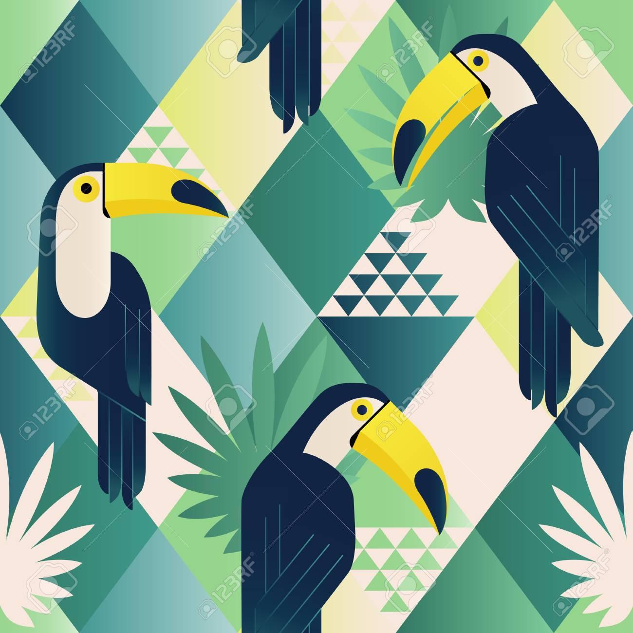 Exotic beach trendy seamless pattern, patchwork. Jungle toucan. Wallpaper print background mosaic. - 94320654