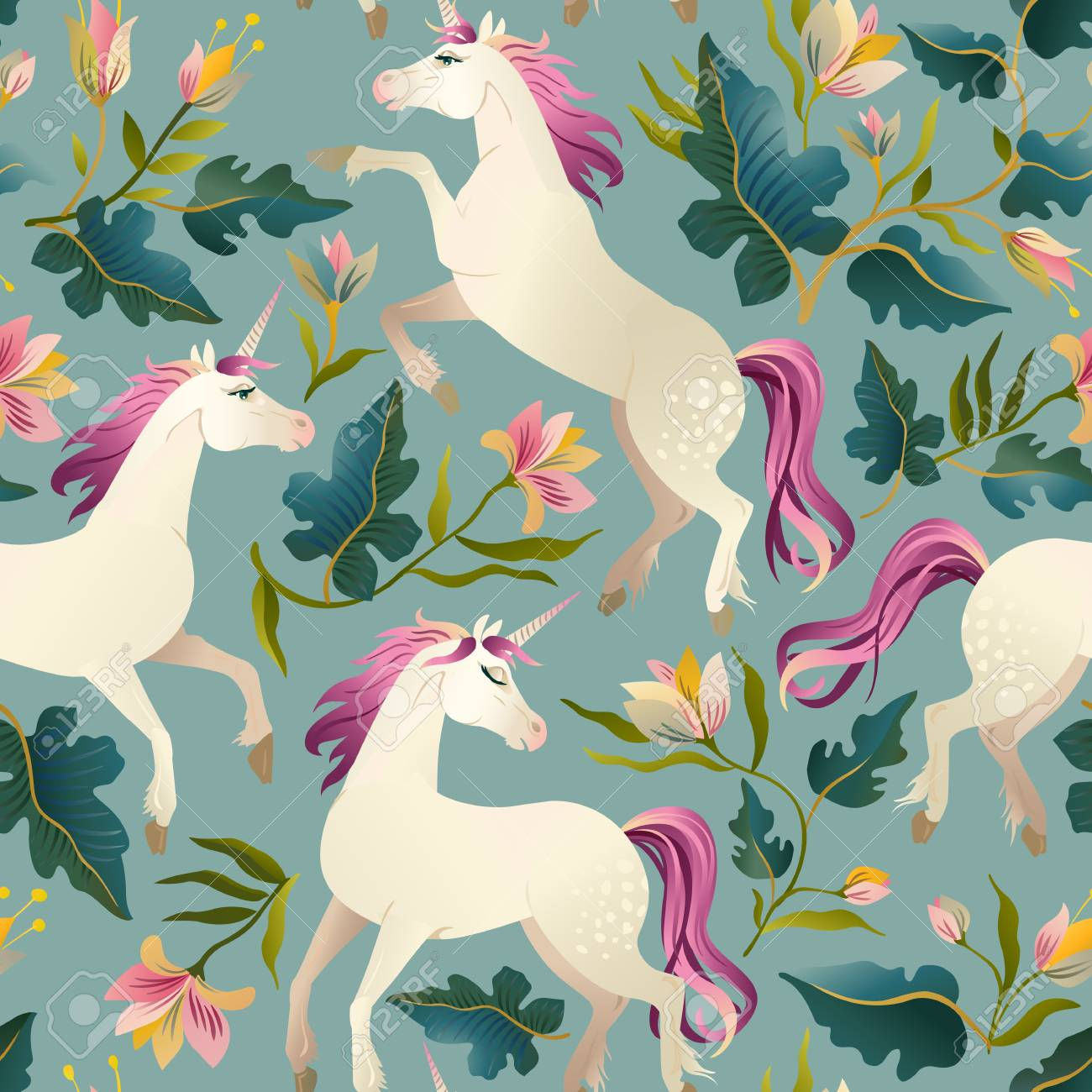 Hand drawn vintage Unicorn in magic forest seamless pattern. Vector illustration. - 94675033