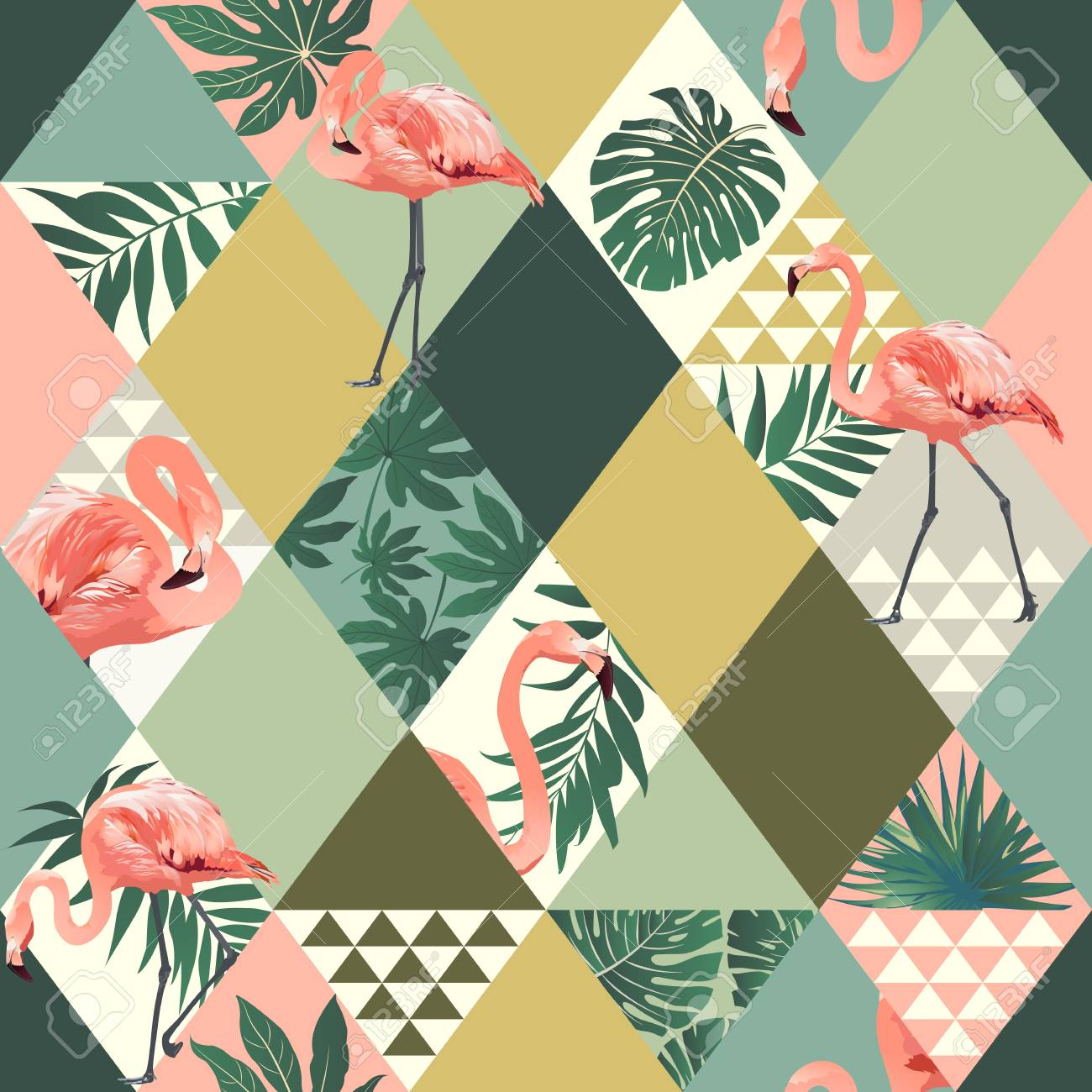 Exotic beach trendy seamless pattern with pink flamingos print. - 96320535