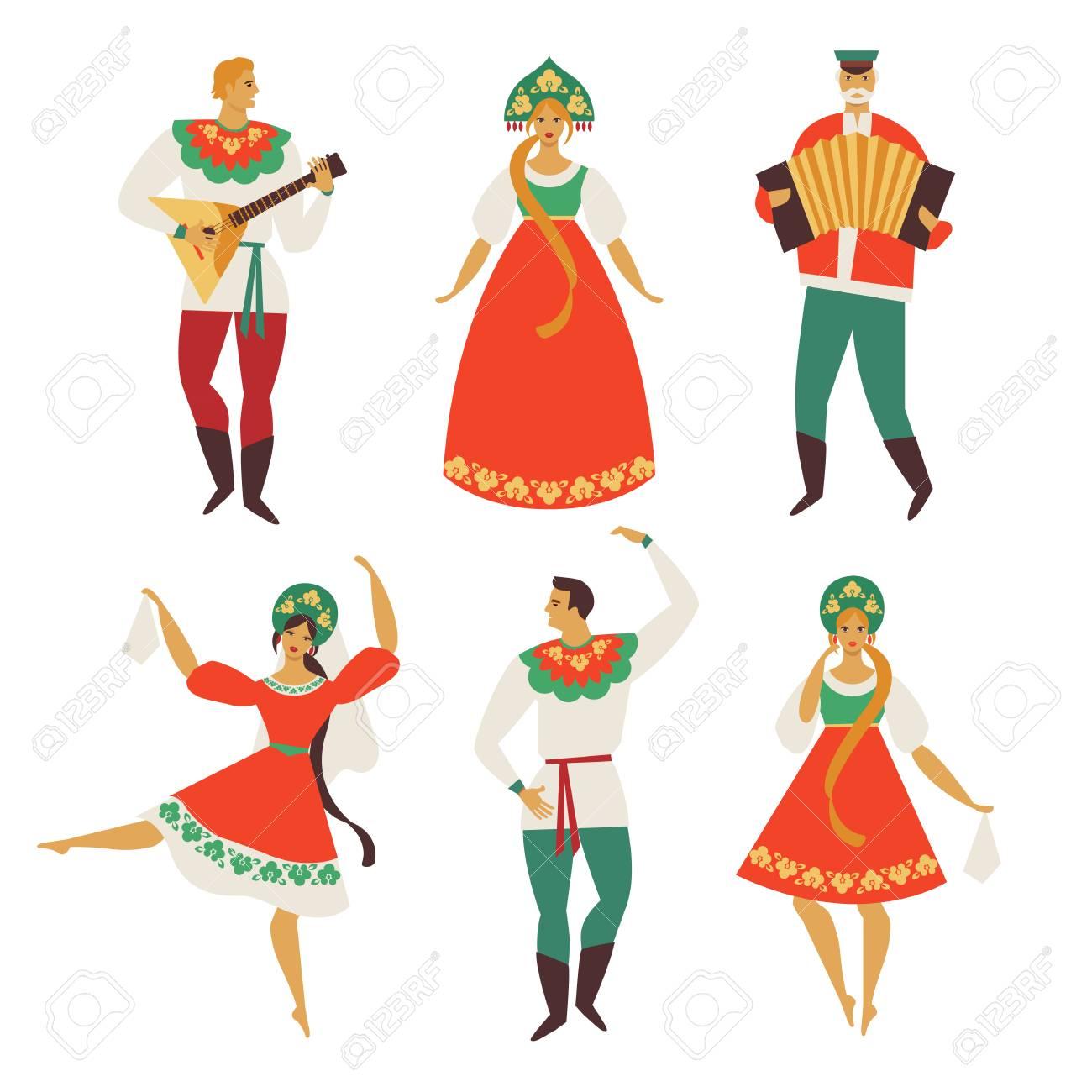 Russian folk costume. Flat design. Vector illustration. - 97467691