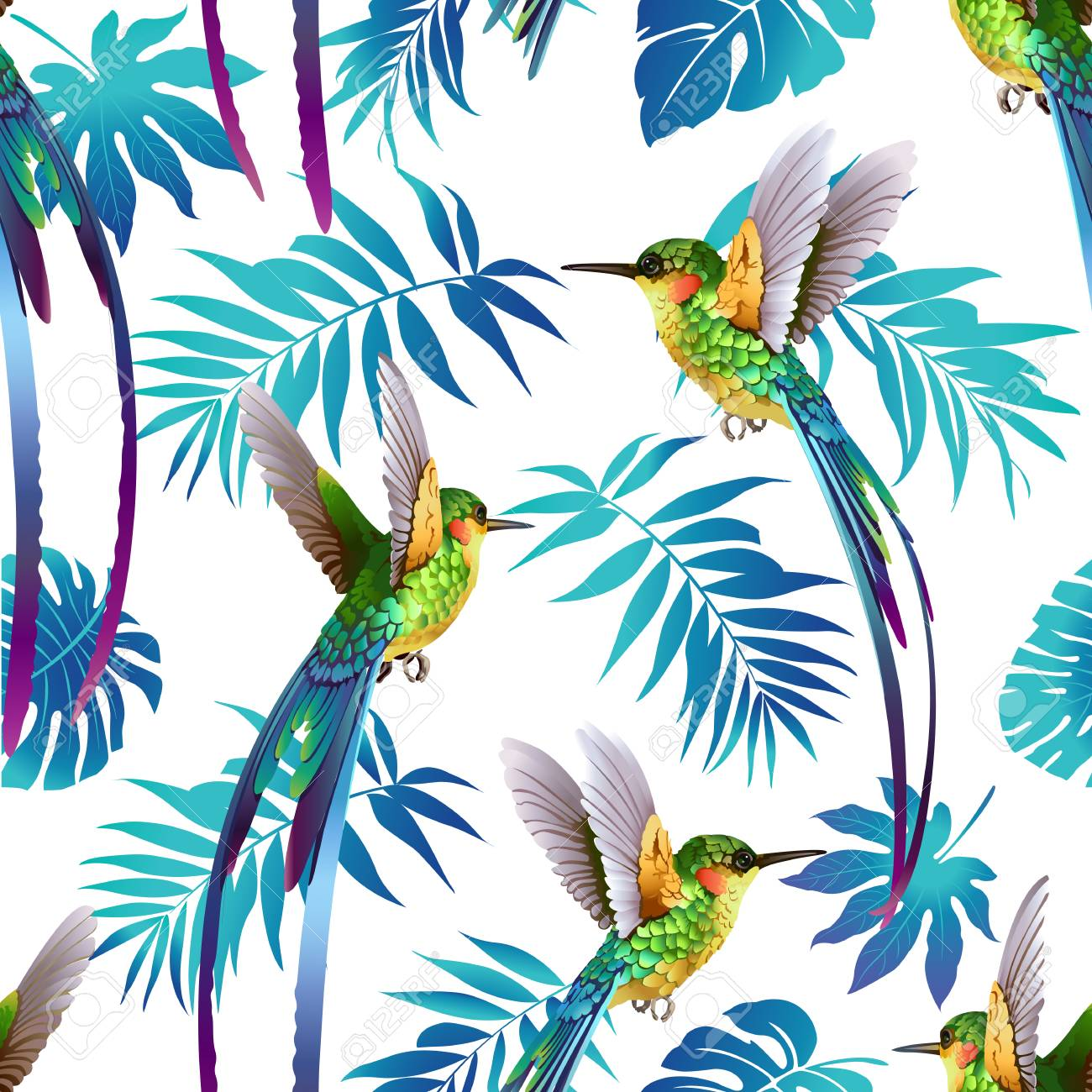 Hummingbird and Tropical Flowers Background Seamless pattern vector. - 99347684