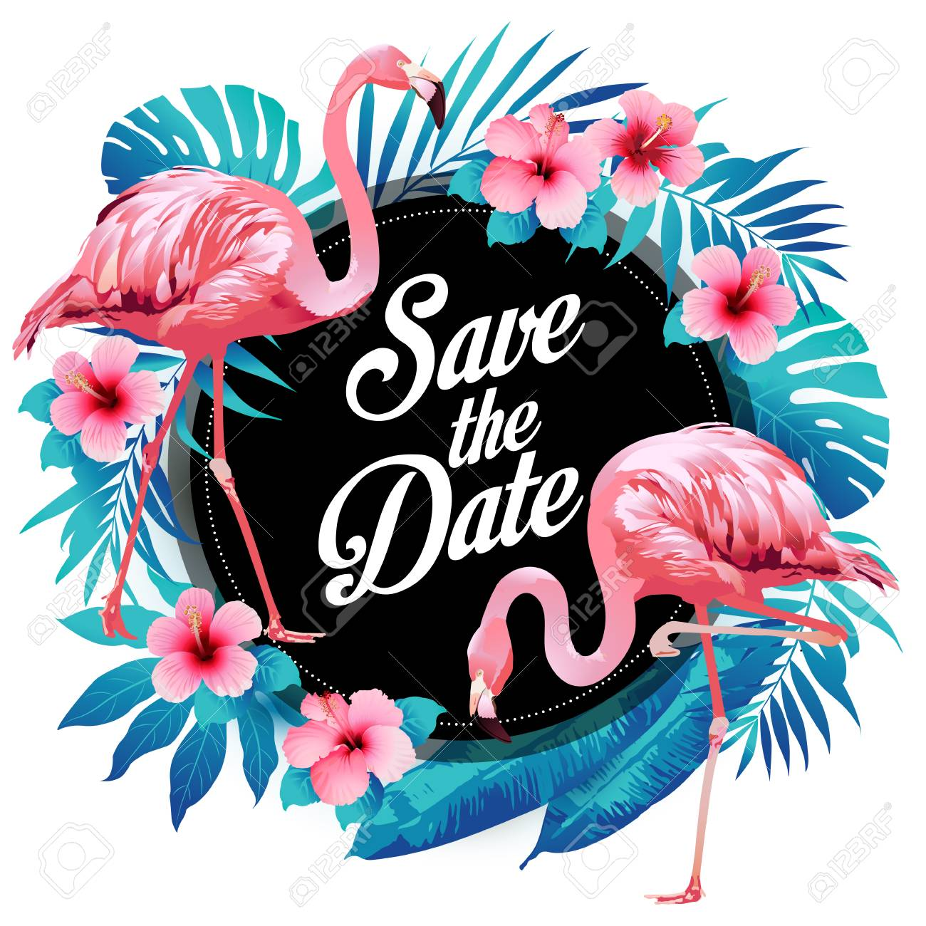 Blue summer tropical palm leaves exotic flamingo and hibiscus flowers. Vector floral background. - 100220657