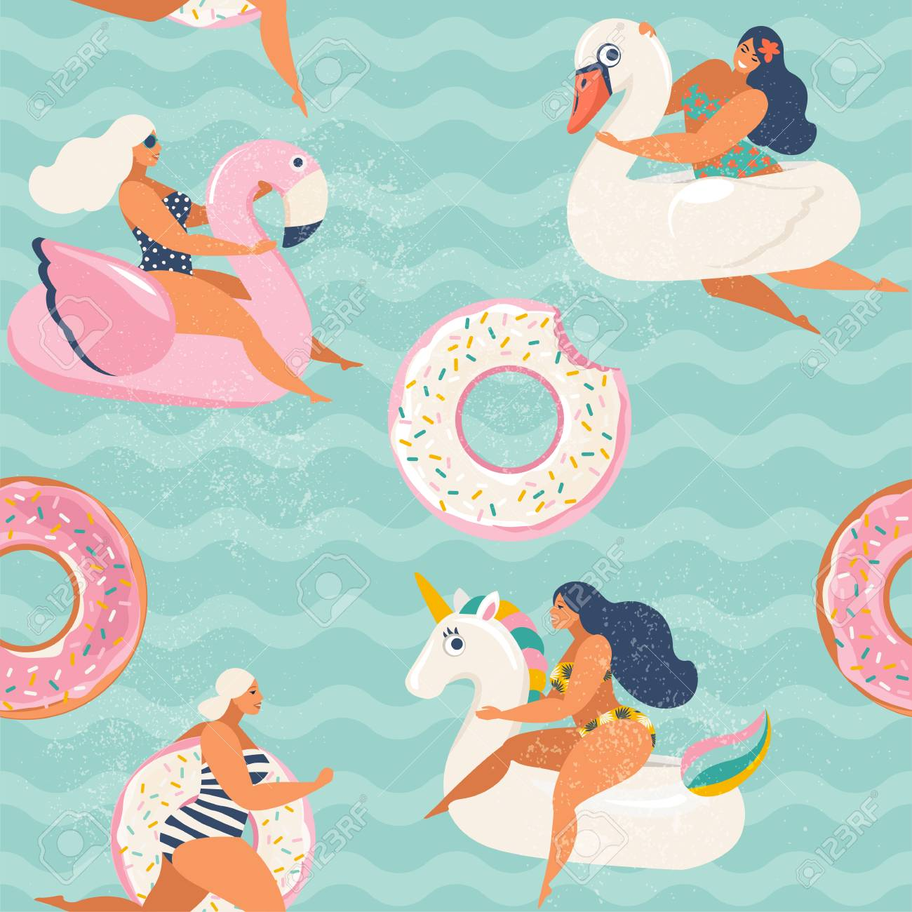 Flamingo, unicorn, swan and sweet donut inflatable swimming pool..