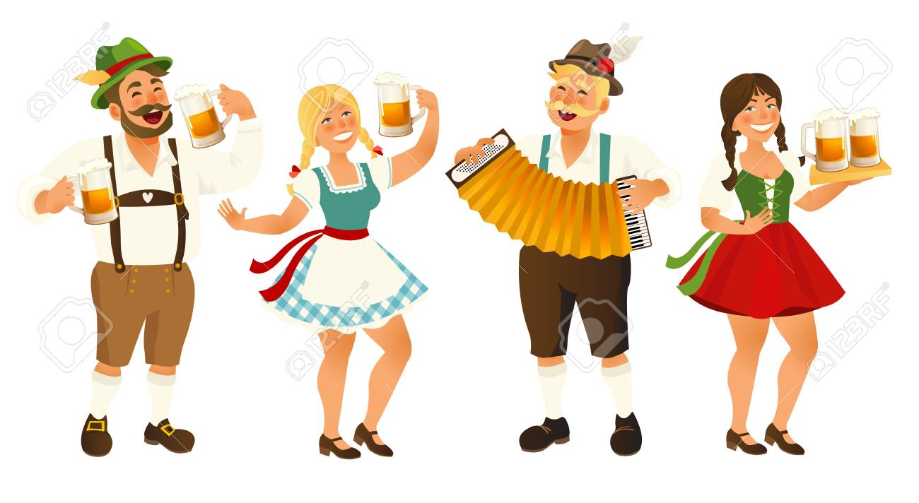 People in traditional German, Bavarian costume holding beer mugs, Oktoberfest, cartoon vector illustration isolated on white background. Full length portrait of German people in traditional costumes. - 105931957