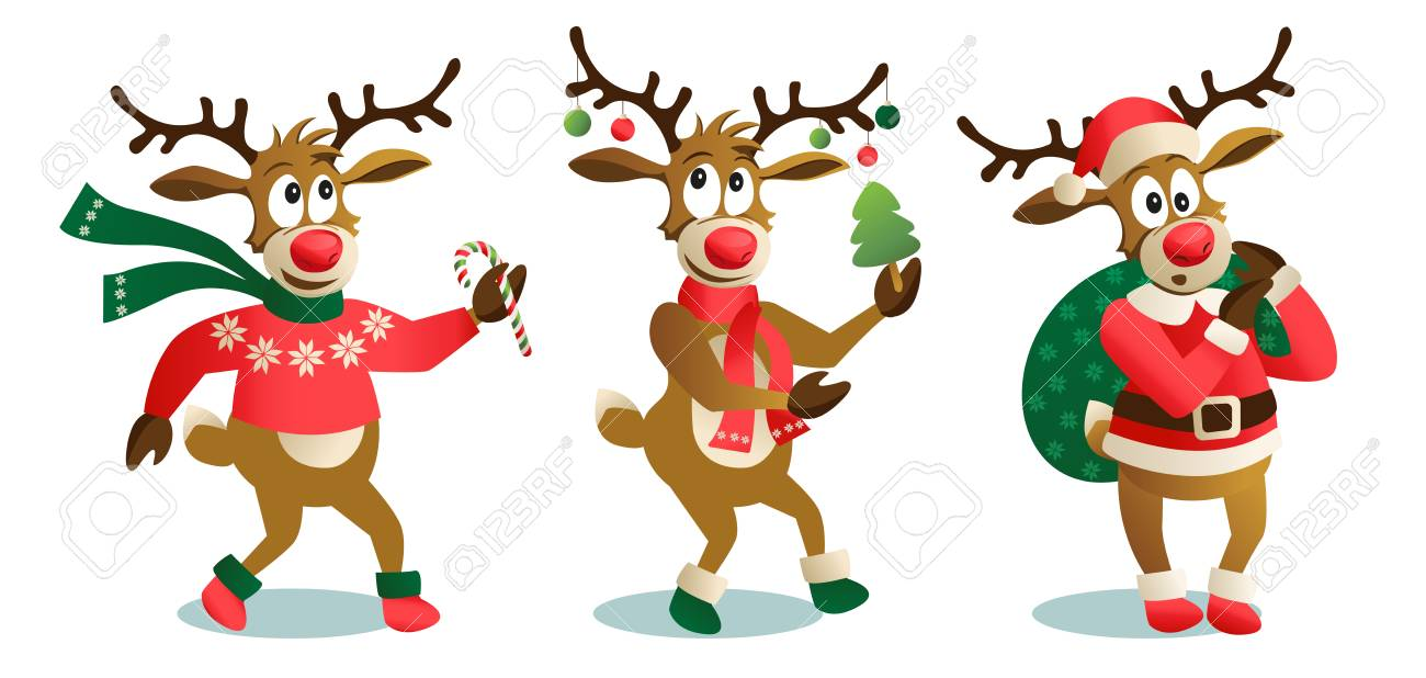 Cute and funny Christmas reindeers, cartoon vector illustration isolated on white background reindeer with Christmas tree, gifts and dancing, having fun, decoration elements. - 112104028