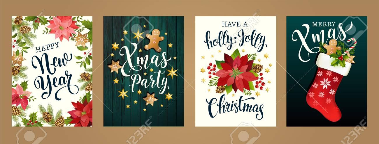 Merry Christmas and Happy new year 2019 white and black colors. Design for poster, card, invitation, card, flyer, brochure. Vector illustrations. - 110523840
