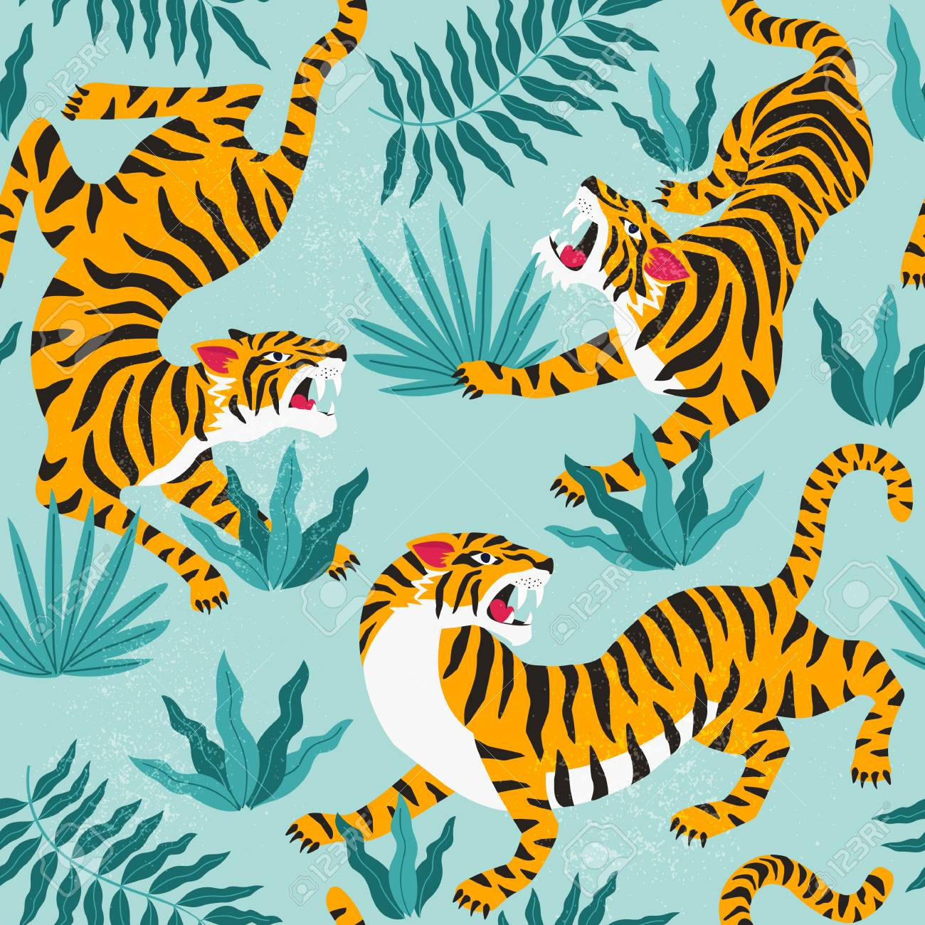 Vector seamless pattern with cute tigers on background. Fashionable fabric design. - 110244130