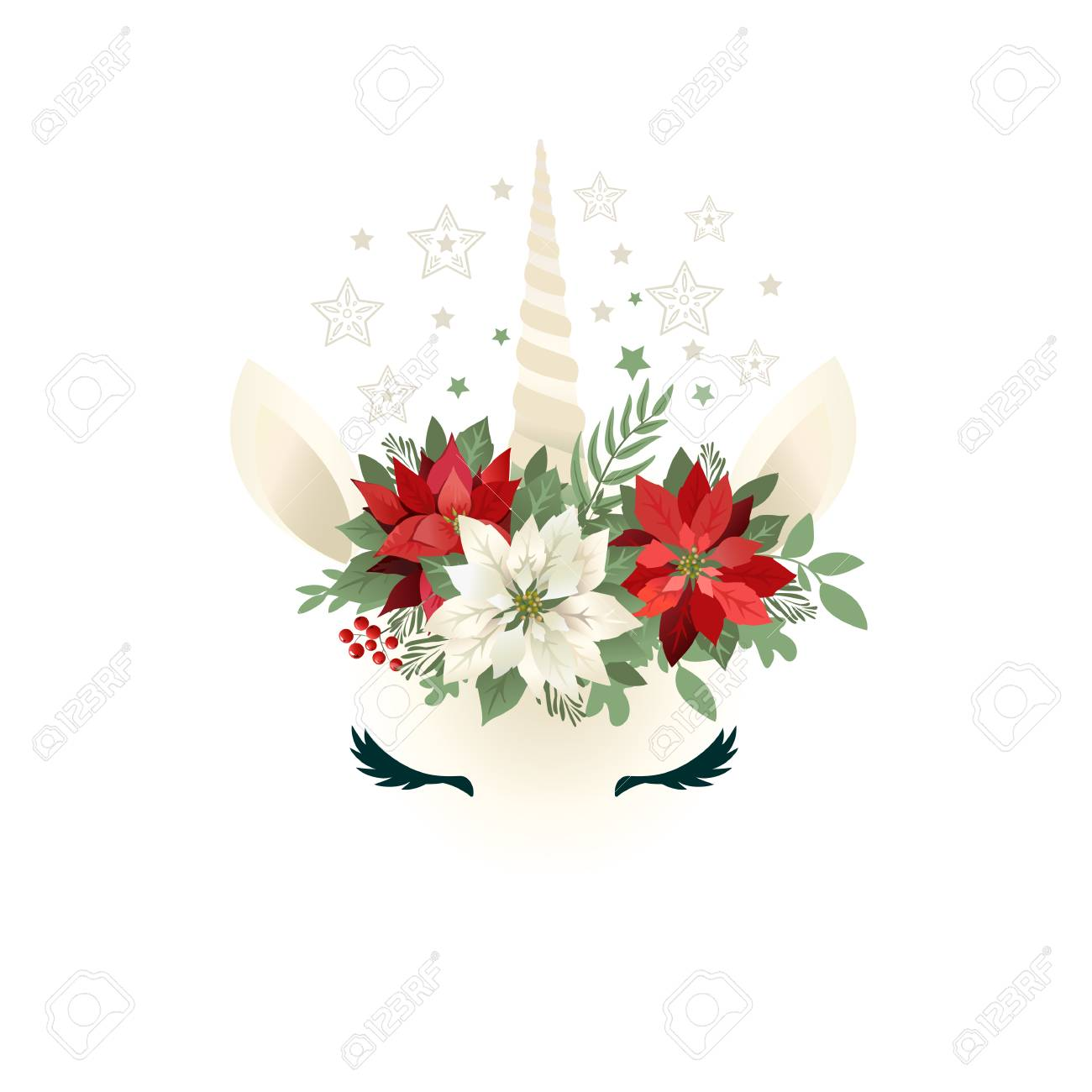 Head of hand drawn unicorn with floral wreath on white background. - 111200243