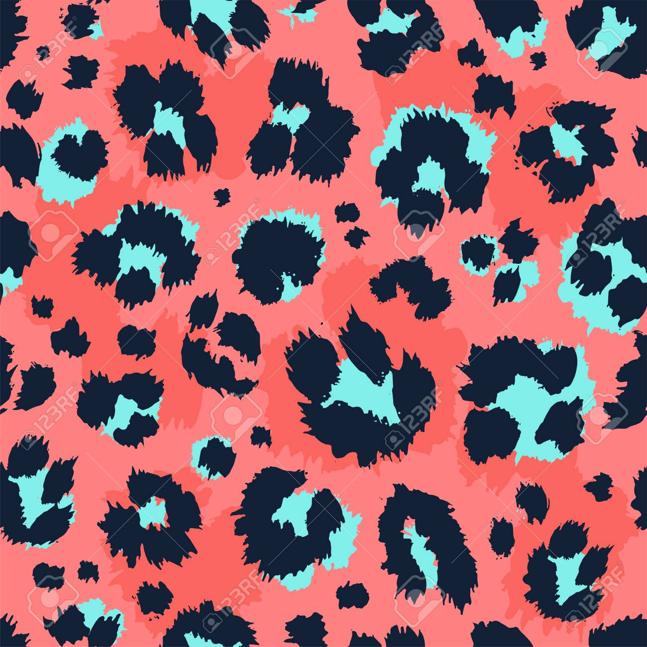 Leopard pattern design funny drawing seamless pattern. Lettering poster or t-shirt textile graphic design wallpaper wrapping paper. - 127618664